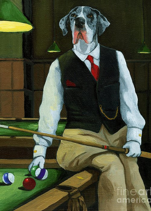 Great Dane Greeting Card featuring the painting Mr. Thomas Tudor - Great Dane portrait by Linda Apple