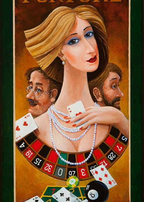 Colorful Paintings Greeting Card featuring the painting Mrs Fortune by Igor Postash