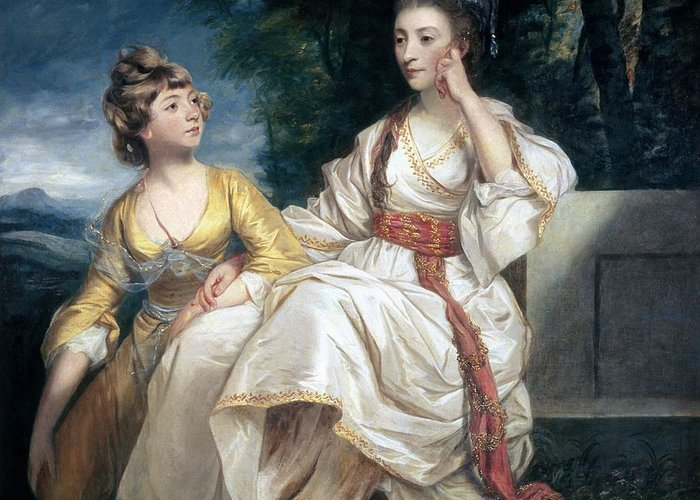 Mrs Greeting Card featuring the painting Mrs Thrale And Her Daughter Hester by Sir Joshua Reynolds