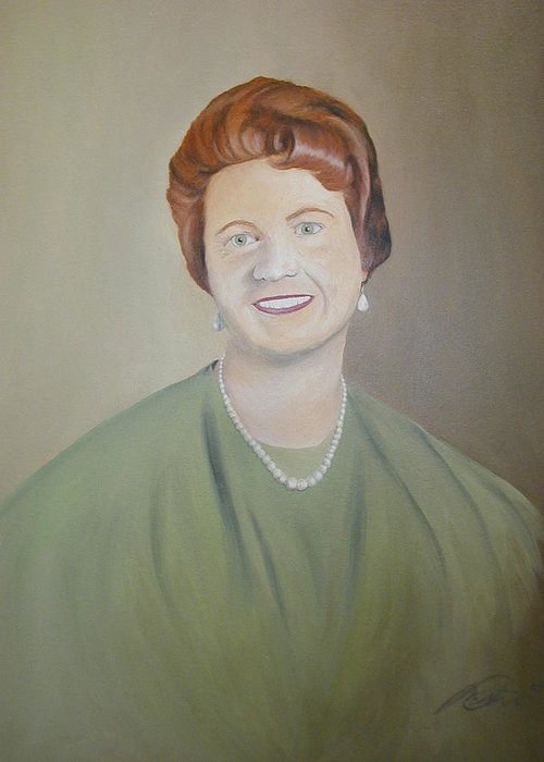 Portrait Greeting Card featuring the painting Ms. Bryant by Angelo Thomas