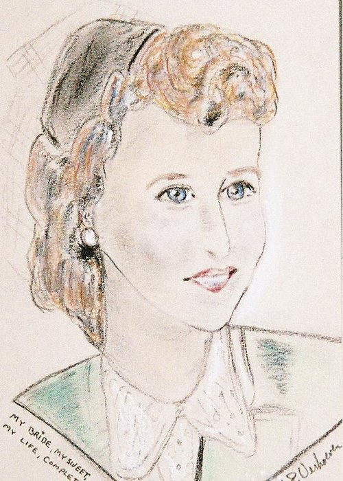 Portrait Young Bride In Love Greeting Card featuring the drawing Ms Margot by Alfred P Verhoeven