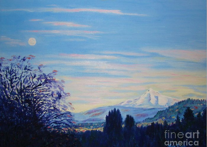 Mt Hood Greeting Card featuring the painting Mt Hood A View From Gresham by Lisa Rose Musselwhite