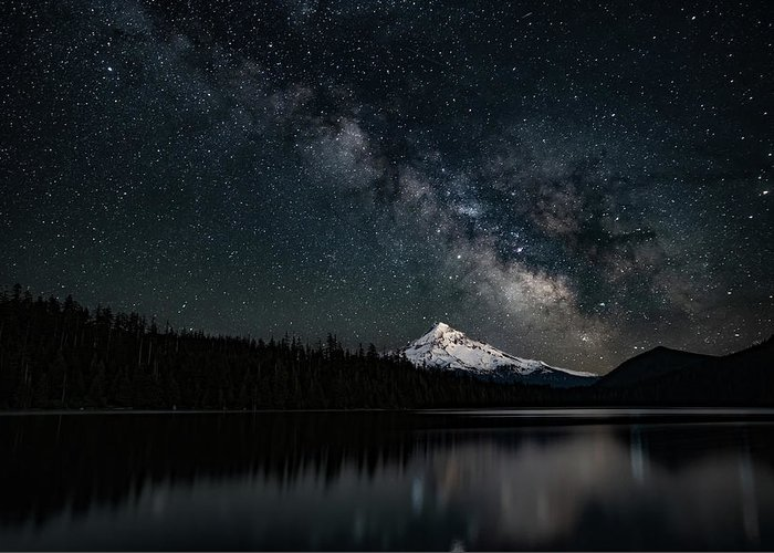 Greeting Card featuring the photograph Mt. Hood And The Milky Way by Ken Dietz