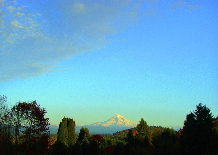 Mt. Hood Greeting Card featuring the photograph Mt Hood just before sunset by Lisa Rose Musselwhite