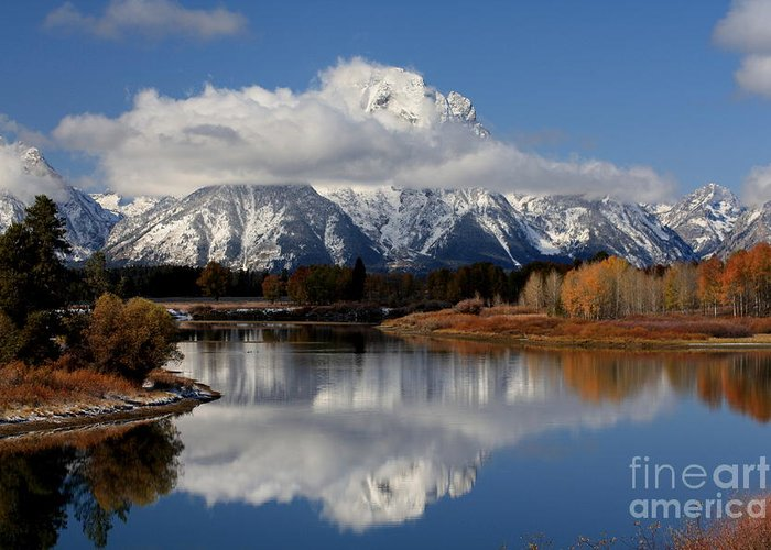 Ox Bow Bend Greeting Card featuring the photograph Mt Moran by Edward R Wisell