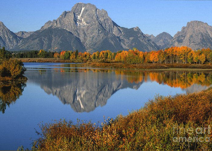 Grand Teton Greeting Card featuring the photograph Mt. Moran Fall Reflection by Sandra Bronstein