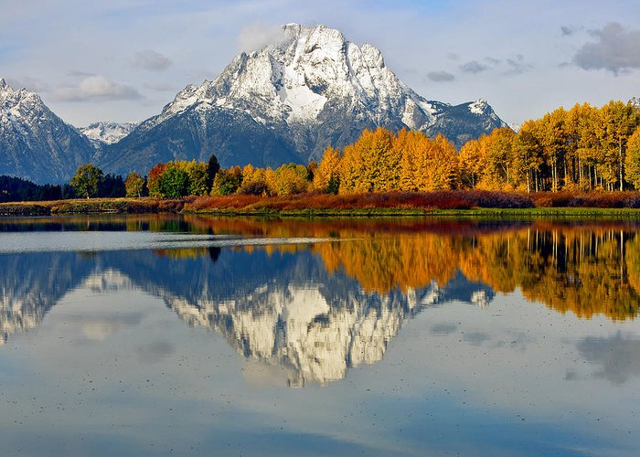 Mt Moran From Ox Bow Bend On A Fall Morning Grand Teton National Park Wyoming Greeting Card featuring the photograph Mt Moran From Ox Bow Bend On A Fall Morning by Gary Langley