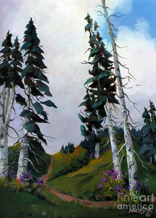 Mountains Greeting Card featuring the painting Mt. Rainier 3 by Marta Styk