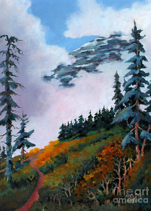 Landscape Greeting Card featuring the painting Mt. Rainier 4 by Marta Styk