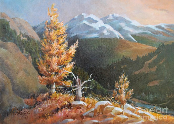 Landscape Greeting Card featuring the painting Mt. Rainier 5 by Marta Styk