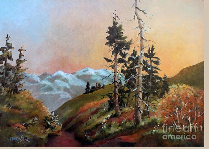 Landscape Greeting Card featuring the painting Mt. Rainier 6 by Marta Styk