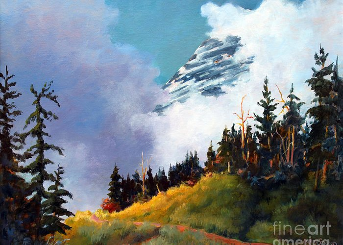 Landscape Greeting Card featuring the painting Mt. Rainier In Clouds by Marta Styk