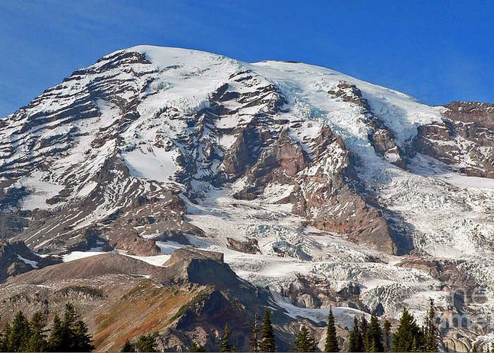 Mountains Greeting Card featuring the photograph Mt. Rainier In The Fall by Larry Keahey