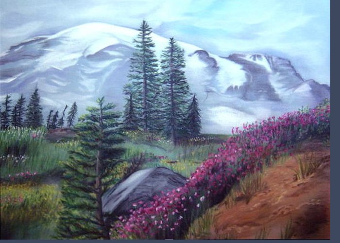 Mountains Washington Greeting Card featuring the drawing Mt. Rainier by L Lauter