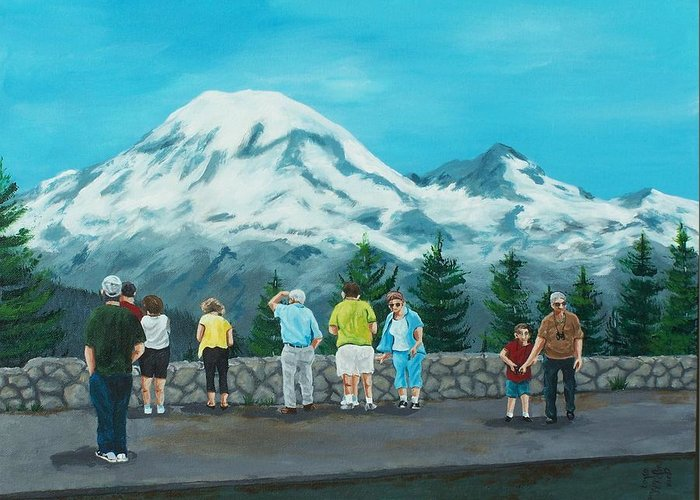 Landscape Greeting Card featuring the painting Mt. Rainier Tourists by Gene Ritchhart