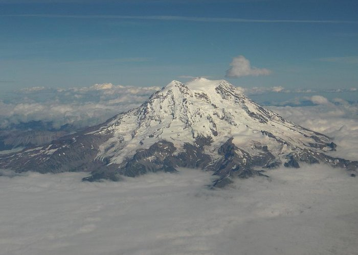 Mountain Greeting Card featuring the photograph Mt Ranier by Janet Hall