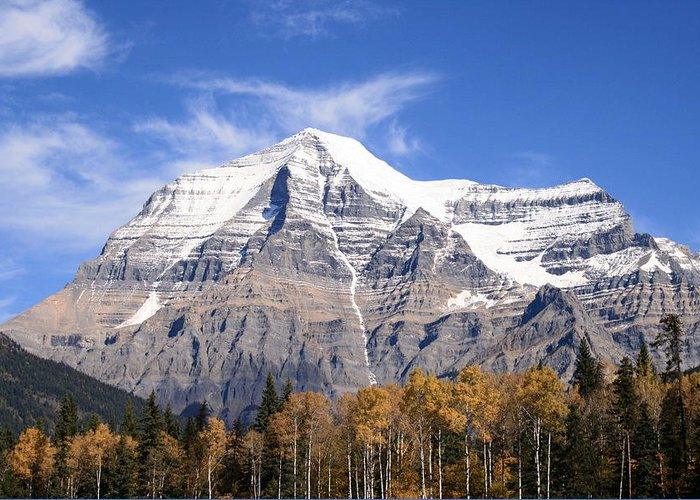 Rocky Mountain Greeting Card featuring the photograph Mt. Robson- Canada's Tallest Peak by Tiffany Vest