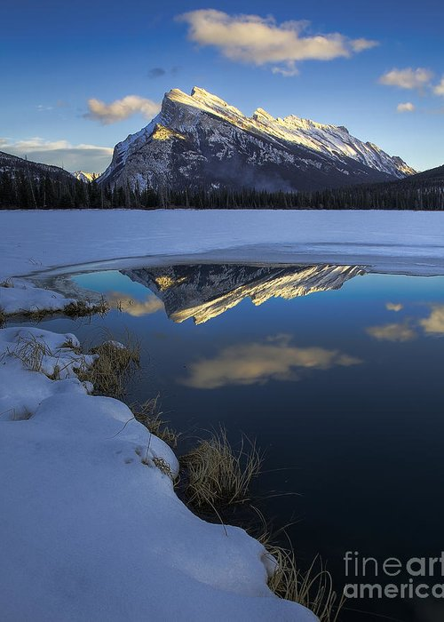 Landscape Greeting Card featuring the photograph Mt. Rundle Winter Reflection by Royce Howland