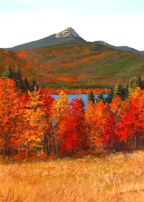 Mt Chocorua Greeting Card featuring the painting Mt.chocorua by Jack Skinner