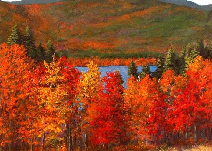 Mt Chocorua Greeting Card featuring the painting Mt.chocorua by Jack Skinner