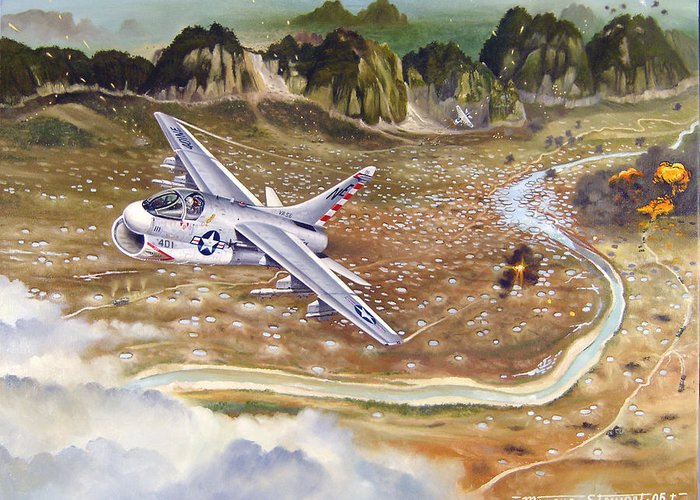Aviation Greeting Card featuring the painting Mu Gia Mayhem by Marc Stewart