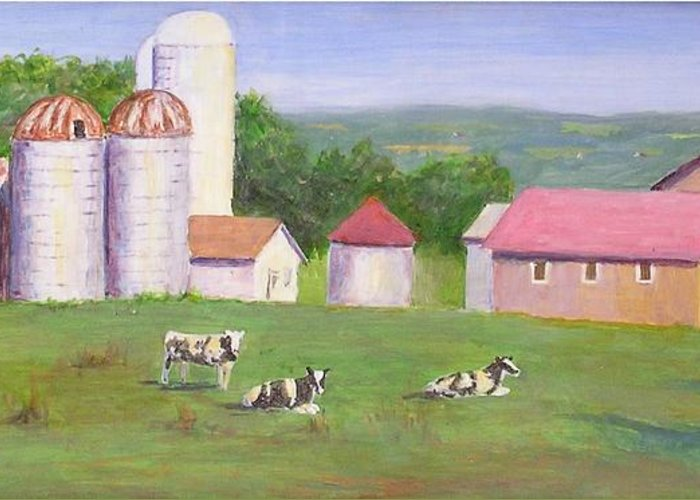Landscape Greeting Card featuring the painting Mud Lake Dairy Farm by Joseph Stevenson