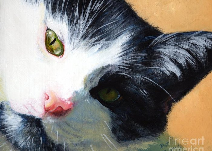 Cat Greeting Card featuring the painting Muff by Pat Burns