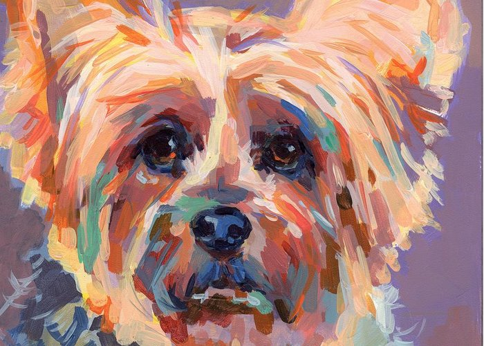 Yorkie Greeting Card featuring the painting Muffin by Kimberly Santini