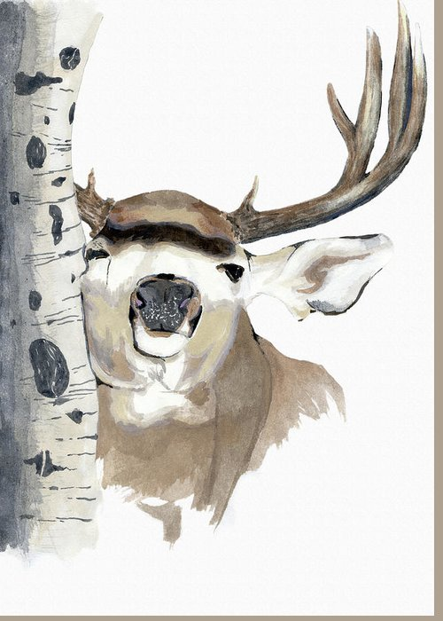 Mule Deer Greeting Card featuring the photograph Mulie Buck And Aspen by David M Porter
