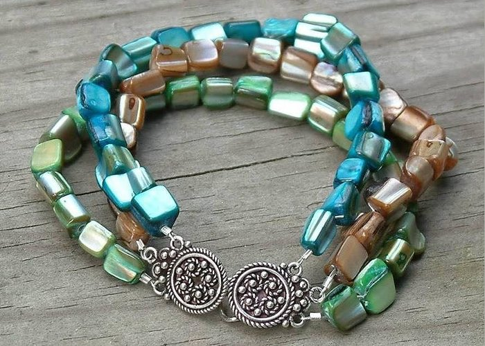 Greeting Card featuring the jewelry Multi Shell Triple Strand Bracelet by Donna Phitides