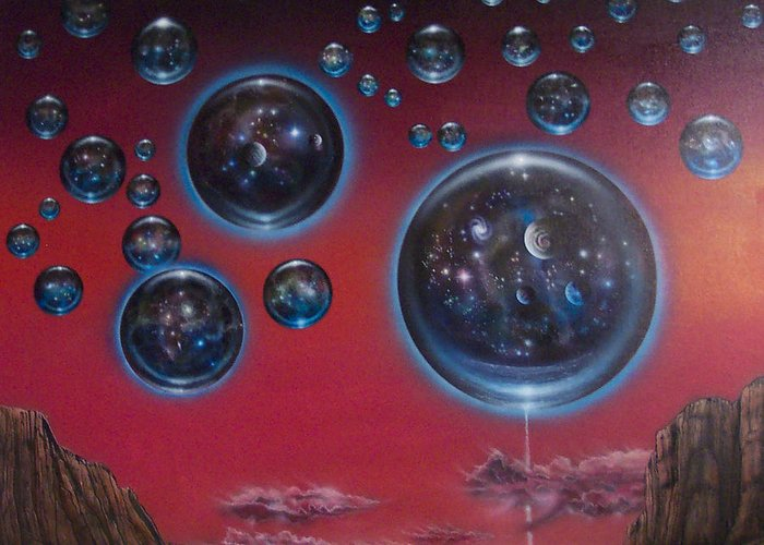 Infinity Greeting Card featuring the painting Multiverse 6 by Sam Del Russi