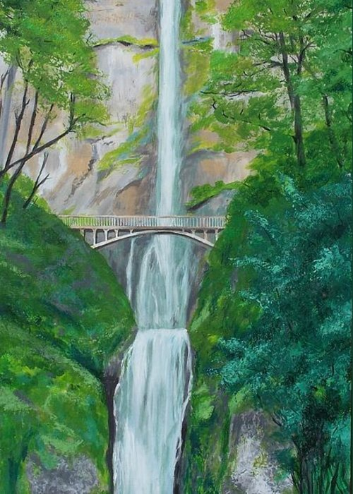 Landscape Greeting Card featuring the painting Multonomah Falls by Gene Ritchhart