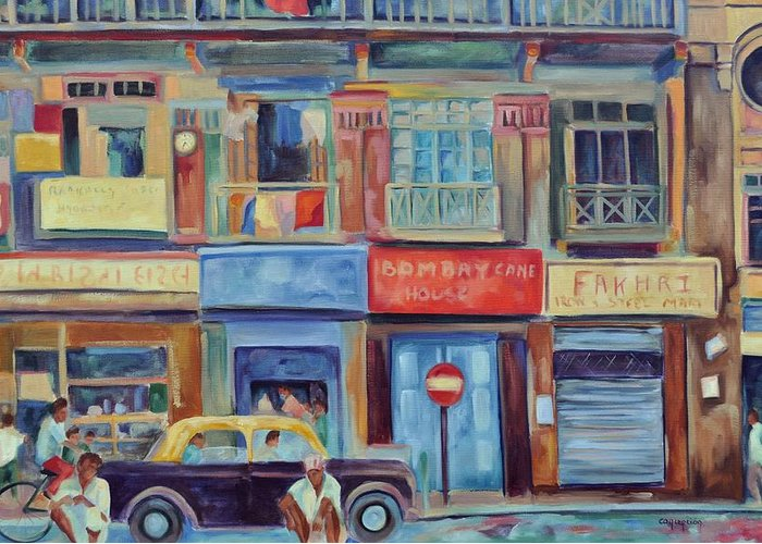 Mumbai Shops Greeting Card featuring the painting Mumbai Business District by Ginger Concepcion