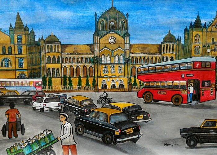 Mumbai Greeting Card featuring the painting Mumbai Meri Jaan by Manjiri Kanvinde