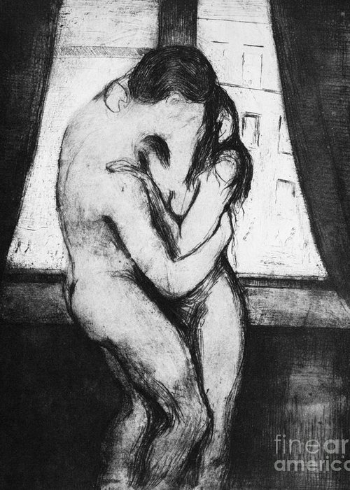1895 Greeting Card featuring the photograph The Kiss, 1895 by Edvard Munch