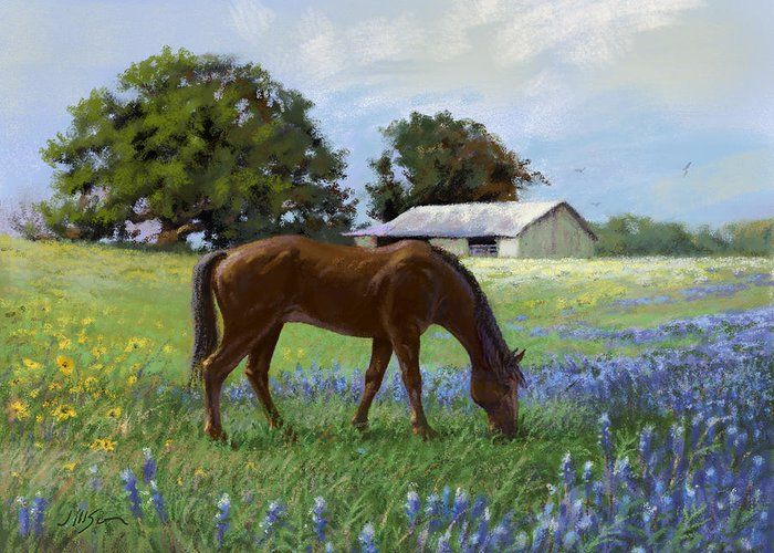 Mare Greeting Card featuring the painting Munching Mare by Joseph Scott