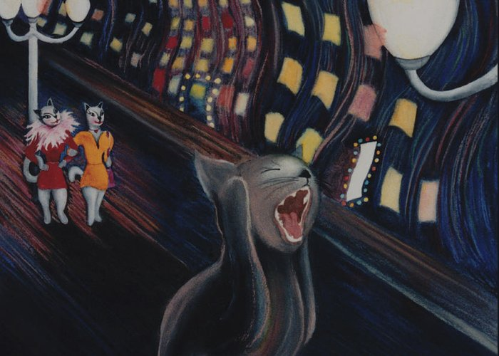 Funny Cat Art Greeting Card featuring the painting Munch's Cat--the Scream by Eve Riser Roberts