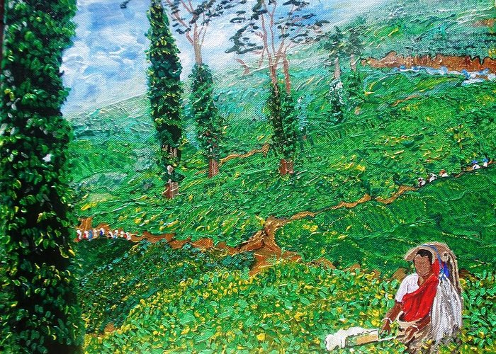 Tea Greeting Card featuring the painting Munnar Tea Gardens by Narayan Iyer