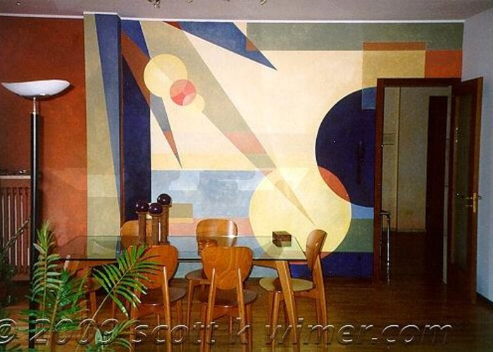 Greeting Card featuring the painting Mural In Varese-italy by Scott K Wimer