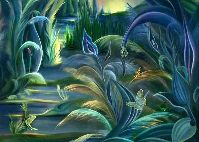 Mural Greeting Card featuring the painting Mural Insects Of Enchanted Stream by Nancy Griswold