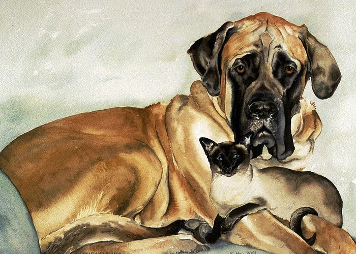 Portrait Greeting Card featuring the painting Murphy And Cody by Eileen Hale