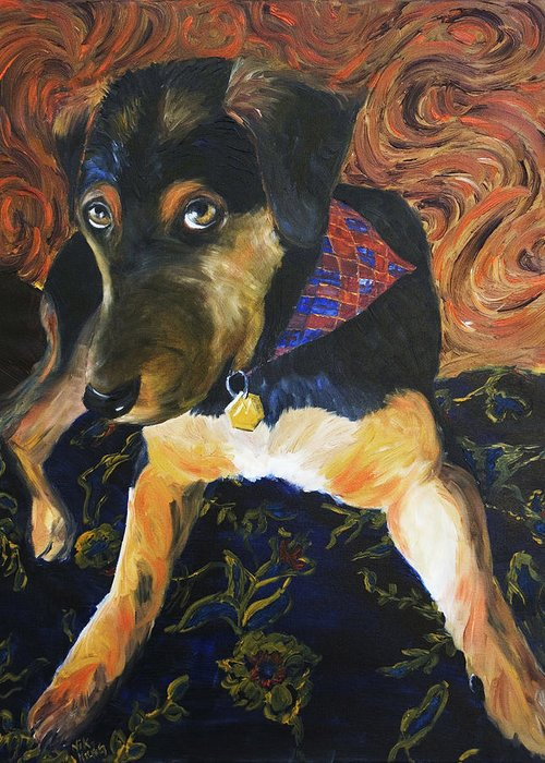 Dog Greeting Card featuring the painting Murphy I by Nik Helbig
