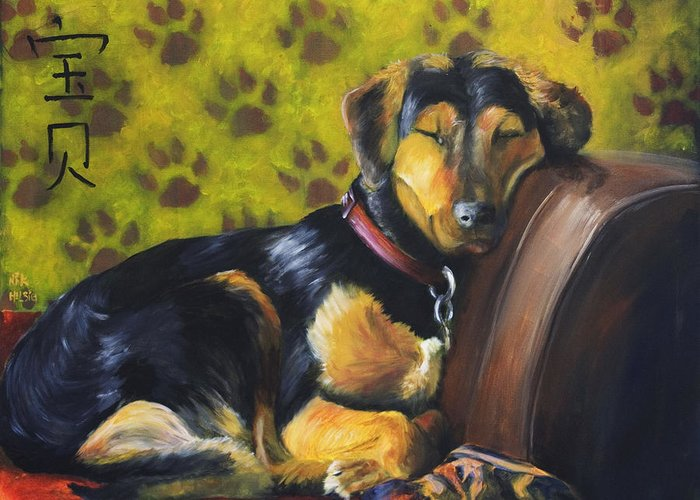 Dog Greeting Card featuring the painting Murphy Vi Sleeping by Nik Helbig