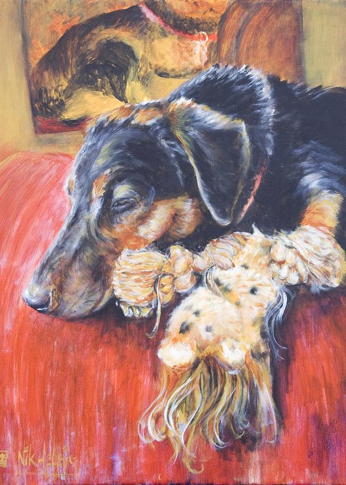Dog Greeting Card featuring the painting Murphy Viii by Nik Helbig