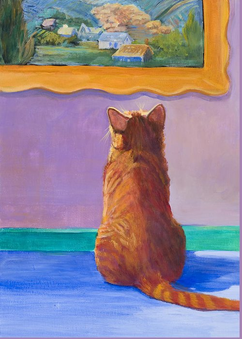 Animal Greeting Card featuring the painting Museum Cat 2 by Jimmie Trotter
