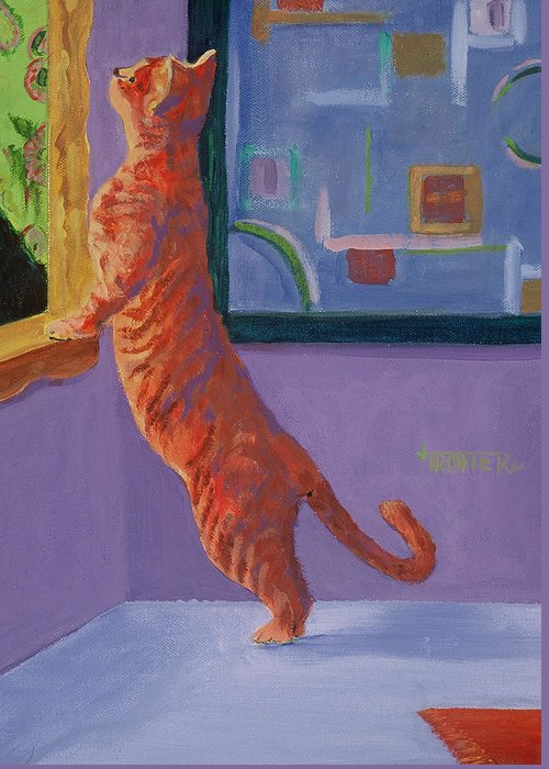 Animal Greeting Card featuring the painting Museum Cat by Jimmie Trotter