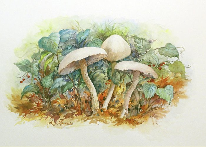 Mushrooms Greeting Card featuring the painting Mushrooms and Berries by Lois Mountz