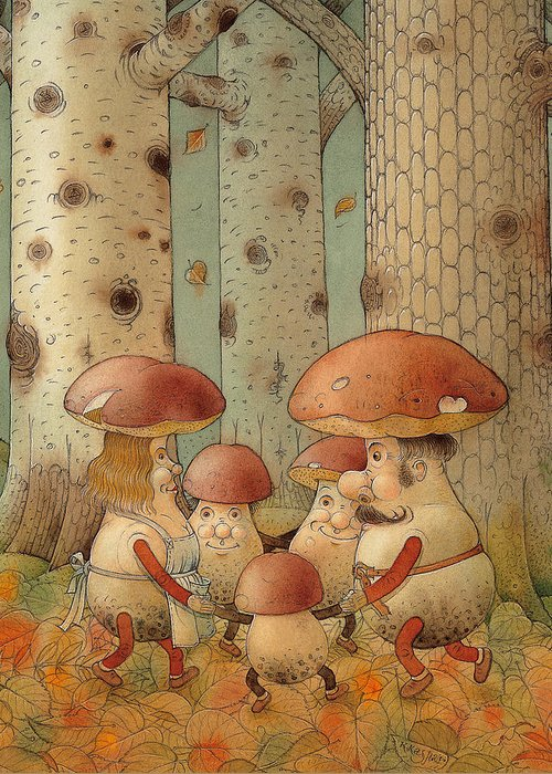 Mushrooms Landscape Forest Autumn Greeting Card featuring the painting Mushrooms by Kestutis Kasparavicius