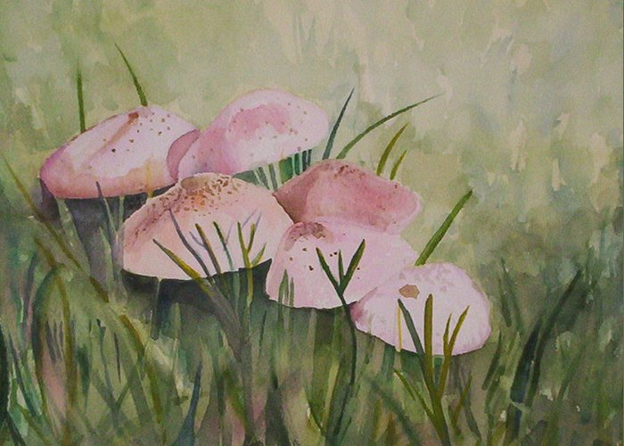 Landscape Greeting Card featuring the painting Mushrooms by Suzanne Udell Levinger
