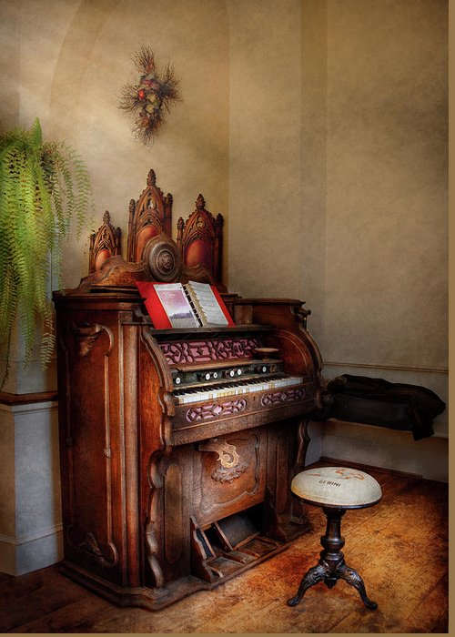 Hdr Greeting Card featuring the photograph Music - Organ - Hear The Joy by Mike Savad